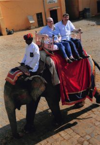 Captain Clarke and I on another elephant. At least this time we're not having to straddle it!