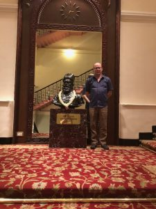 With the bust of Jamsetji Tata at the top of the Royal Staircase.