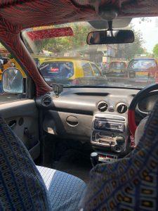 Hurtling through Mumbai in a taxi!