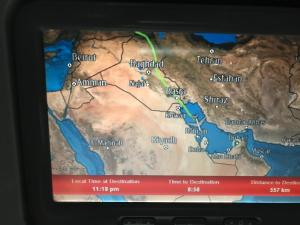 Flying down from Iraq to Dubai