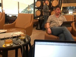 Enjoying the lounge in Dubai