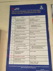 Offences and penalties on the Delhi Metro!